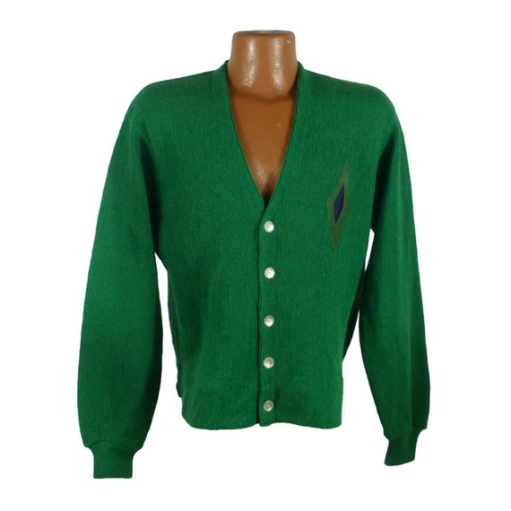 Cardigan Sweater Vintage 1960s Green Wool Mohair Damon Suede Leather Patch Men's 7wd5rQ6