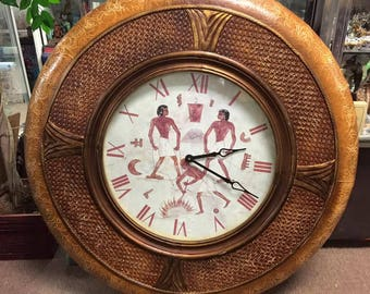 Vintage Egyptian Round Wall Clock hand-painted indoor wall