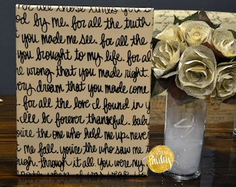 Song Lyric or Wedding Vow Canvas Painting Wall Art Beige & Black Wall Hanging Hand Painted Wedding Decoration Chic Love Custom Home Decor
