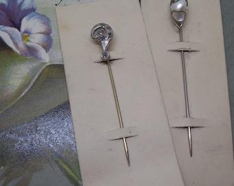 2 New-Ood-Stock Silver Tone StickPins Hat Pins Scarf Pins Stick Pins    MBU33
