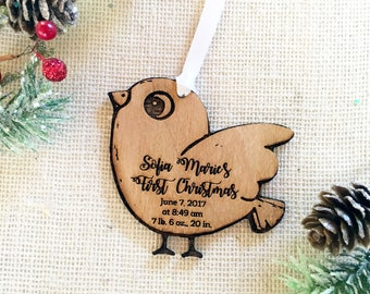 Bird Baby's First Christmas Ornament - Personalized with Birth Details - Custom Rustic Wood Ornament - New Baby Gift - Baby Shower