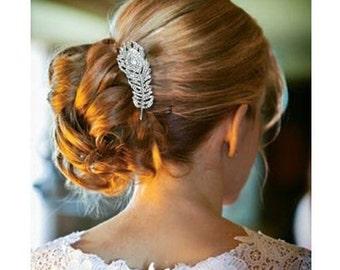 Jewel peine del pelo de la pluma de la vendimia de diamantes de imitación boda nupcial de cuentas Antiguo