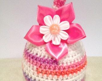 Newborn girl Hat.. Handmade Flower hair clip... Photography Prop... OOAK... Ready to SHIP