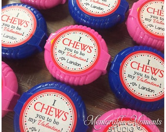 PRINTABLE VALENTINE I CHEWS You Tags or Stickers - Bubble Gum Labels Valentine Gift Tags - Memorable Moments