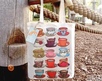 Teacups Tote Bag, Ethically Produced Reusable Shopper Bag, Cotton Tote, Shopping Bag, Eco Tote Bag, Stocking Filler