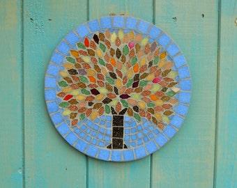 Autumn Jewel Tree Mosaic Garden Yard Hanging Plaque Ornament Decoration