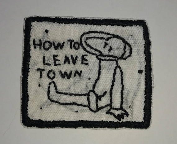 Hand Embroidered Patch How To Leave Town Car Seat Headrest