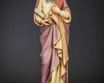 """RARE 18"""" Plaster Statue Saint Bartholomew The Apostle Vintage St Figure"""