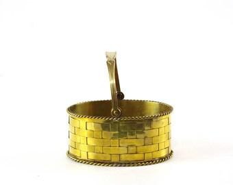 Vintage Brass Basket, Brass Home Decor, Small Metal Basket, Mottahedeh Design