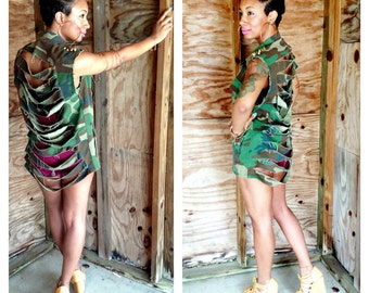 5d4b2b47fcddb Sleeveless Spiked Ripped Army Gold Silver Camo Camoflauge Fatigue