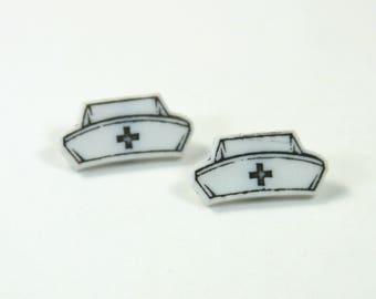 Nurse Hat earrings, Nurse earrings, Hat studs, Hat earrings, Nurse hat studs, Gift for nurse, Miracle gift