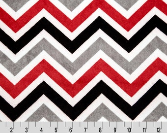 Smooth Minky with Chevron in Black, Grey and Red. Shannon Fabrics Quality Cuddle Minky Fabric by the yard