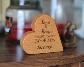 Personalised Wooden Cake Topper - Engraved wooden Heart - Forever and Always