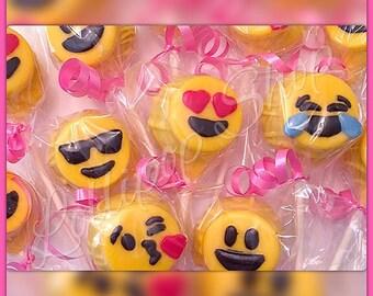 12 Emoji Cake Pops (Birthday, Emoji, Emoji party favors)