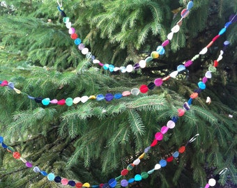 Folk Art Christmas Garland- 1 inch circles - 2 feet of multicolor felted recycled wool dots string - perfect teacher gift
