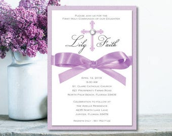 Girl First Communion Invitation Purple Baptism Invitation Lavender