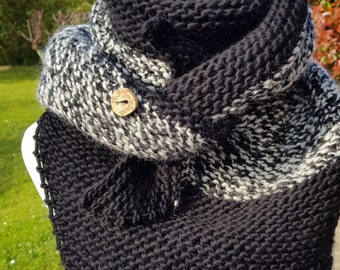 Trendy shawl hand knitted wool