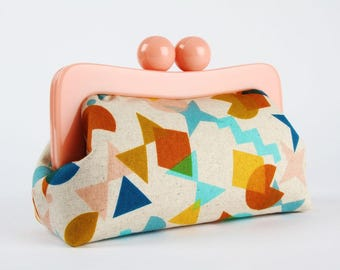 Resin frame clutch bag - Shape Up in topaz - Awesome purse / Peach pink frame / Japanese fabric / Cotton and Steel / turquoise blue yellow