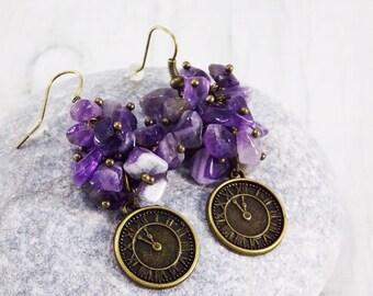 Real amethyst earrings for women time jewelry steampunk watch jewelry purple earrings february birthstone amethyst jewelry cluster earrings