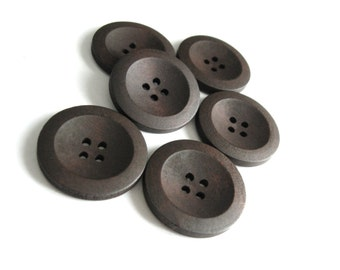 Brown Wooden Sewing Buttons 30mm - set of 6 natural wood button