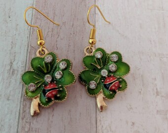 Shamrock earrings, Ladybird earrings, insect earrings, insect jewelry, ladybird jewelry, gifts for her, shamrock jewellery,
