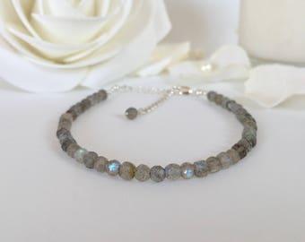 Labradorite Bracelet, Sterling Silver, Best Friend Gift for Her, Gift for Mom, Beaded Bracelet, Gift for Women, Blue, Best Selling Items