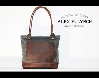 """Charcoal Waxed canvas tote - heavy weight waterproof canvas bag and genuine leather  """" OLD COUNTRY BAG """""""