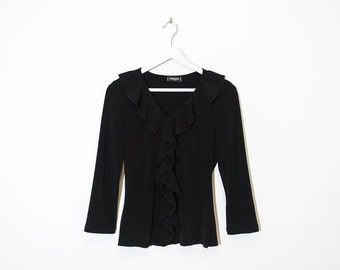 on sale - black ruffled collar fitted top / 3/4 sleeve v-neck blouse  / size M