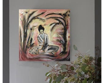 Qi Painting | Deep Canvas Print | Meditative Art | Office Decor | Wall Art | Feng Shui Oil Painting | Zen Painting | Asian Art Painting