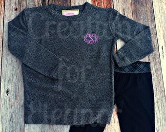Monogram Sweatshirt, Girls Monogrammed Tunic Sweatshirt, Monogrammed Tunic, Tunic Sweatshirt, Girls Sweatshirt, Monogrammed Sweatshirt