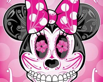 Minnie Mouse Sugar Skull 11x14 print