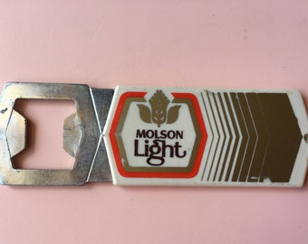 Vintage Molson Light beer bottle opener - Molson Canadian Lager Beer - brewania - Canadiana - Canadian Beer Brand Items