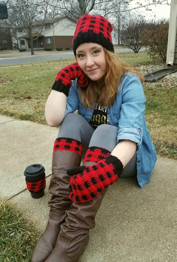 Buffalo Plaid For Women Slouch Hat Beanie Mittens Boot Cuffs Coffee Cup Cozy, Mama Bear Set, Christmas Gift for Mom Girlfriend Her, Gift Set