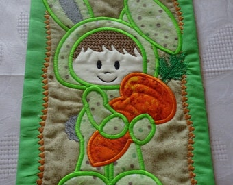Easter Bunny, Kids Easter Gift, Easter Bunny Gift, Kids Easter Bunny, Easter Bunny Blanket Sleeper Mug Rug / Mini Quilt - READY TO SHIP!