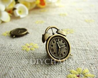 Antique Bronze Clock Charms 13.5x17.5mm - 10Pcs - DC23140