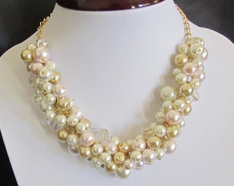 Gold Ivory Pearl Necklace, Pearl Cluster Necklace, Beaded Bridesmaid Necklace, Blush Pink and Gold Wedding