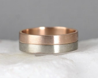 Pink & White Gold Wedding Band - 14K Gold Mens or Ladies Wedding Bands - Matte Finish - Commitment Rings - 2 Tone Bands - Wedding Ring