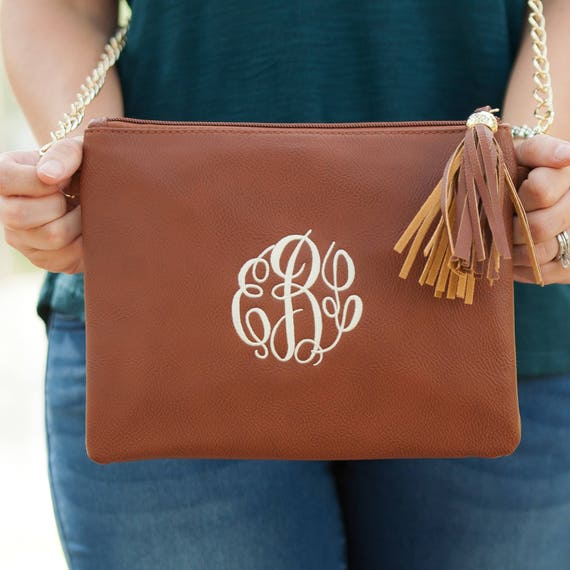 Monogrammed Crossbody Clutch / Purse - Camel