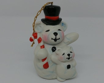 Vintage Snowman SnowBears Ornaments Stocking Stuffers Figurine Winter Collectibles Altered Repurposed Art