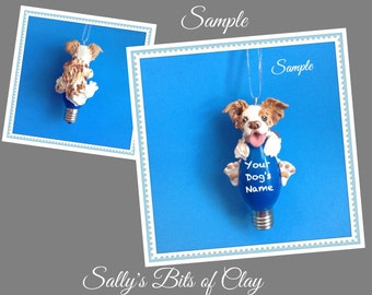 Red Merle Border Collie Dog Christmas Light Bulb Ornament Sally's Bits of Clay PERSONALIZED FREE with dog's name