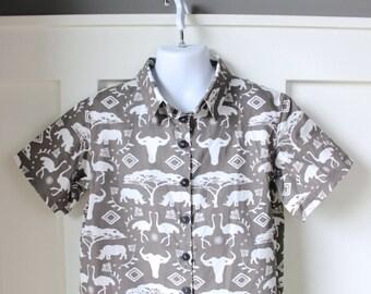 Stone Gray Safari Print Hipster Shirt Size 5