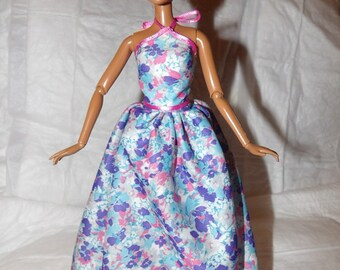 Formal long skirt & top set in colorful floral for Fashion Dolls - ed840