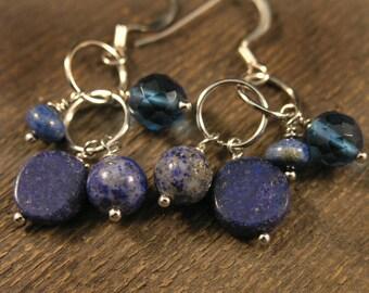 Royal blue lapis lazuli, jasper stone, genuine blueberry quartz, and silver ring handmade earrings
