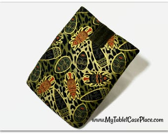 Tablet Case, iPad Cover, Tribal Masks, African, Ethnic, Green, Kindle Fire Cover, 7, 8, 9, 10 inch Sleeve, Cozy,  FOAM Padding, Gift