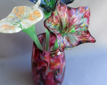 Hand Blown Art Glass  Red Multicolored Vase with 3 Glass Flowers
