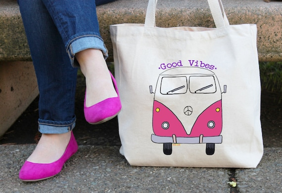 VW Bus Tote Bag  - Reusable Cotton Grocery Shopping Bag - Book Bag - Beach and Yoga Bag - Hiking - Hippie - Camping - Free Shipping