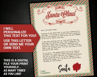 Letter from santa santa letter santa claus letter letter from santa santa letter santa claus letter printable christmas personalized custom antique printable personalized letter spiritdancerdesigns Gallery