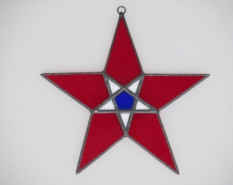 Stained Glass Multi-colored Star Suncatcher