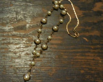 Vintage Pearl and Wire Y Necklace Steampunk Upcycle
