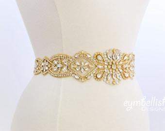 Thick Gold Crystal Rhinestone Bridal Sash, Wedding Belt- gold Rhinestone Belt - gold Wedding Accessories -  vintage gold bling sash- B104